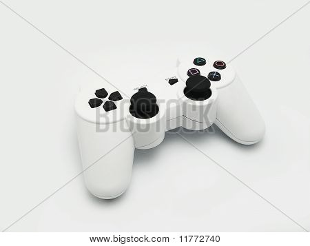 A White Wireless Joypad Against White Background