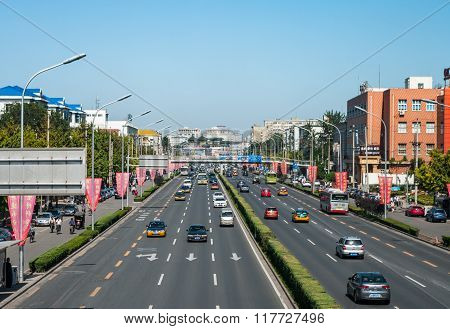 Beijing, China - September 26, 2012: Street With Cars In Beijing, China