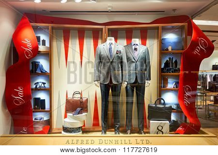 HONG KONG - JANUARY 26, 2016: shopwindow of Dunhill store. Alfred Dunhill, Ltd. is a British luxury goods brand