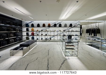 HONG KONG - JANUARY 26, 2016: YSL store at Elements Shopping Mall. Yves Saint Laurent YSL, also known as Saint Laurent Paris, is a luxury fashion house ounded by Yves Saint Laurent and Pierre Berge.