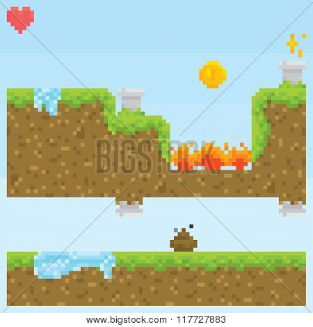 Pixel art style game level vector assets objects