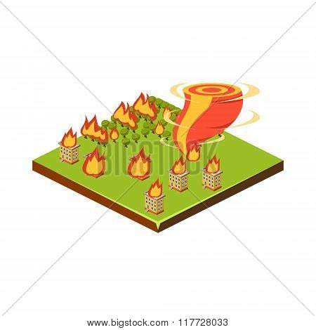 Fire and Tornado. Natural Disaster Icon. Vector Illustration