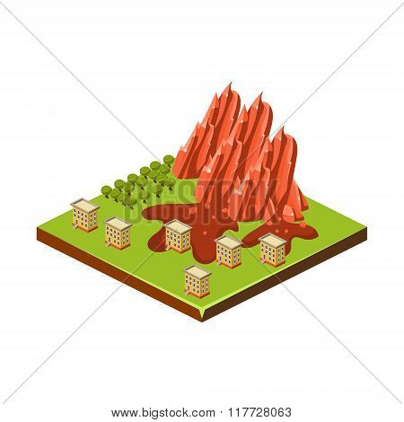 Mudslide. Natural Disaster Icon. Vector Illustration