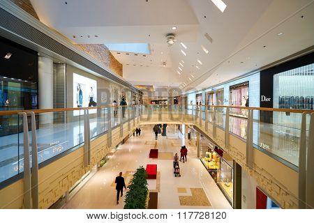 HONG KONG - JANUARY 26, 2016: inside of Elements Shopping Mall. Elements is a large shopping mall located on 1 Austin Road West, Tsim Sha Tsui, Kowloon, Hong Kong