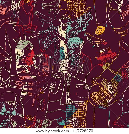 Color music jazz band seamless pattern.