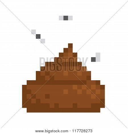 Pixel art style poo isolated vector illustration