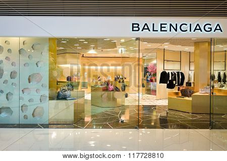 HONG KONG - JANUARY 26, 2016: design of Balenciaga store at Elements Shopping Mall. Balenciaga is a European luxury fashion house founded by Cristobal Balenciaga,