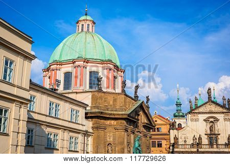 Prague Czech Republic. Scenic summer dwetail of the Old Town architecture in Praha Bohemia.