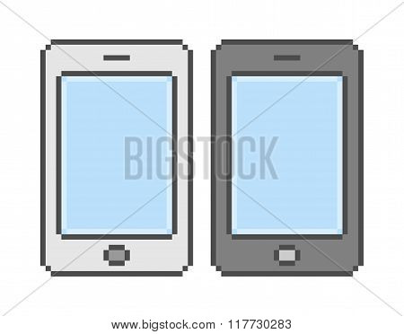 Vector Pixel Art White And Black Smartphone