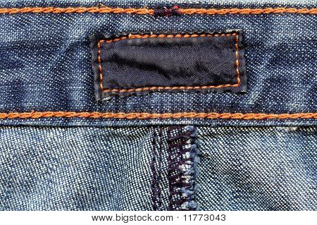 Dark cotton label on jeans