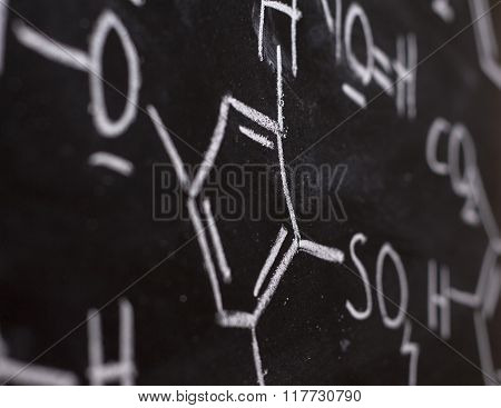 Chemical Formula On Blackboard - Handwritten