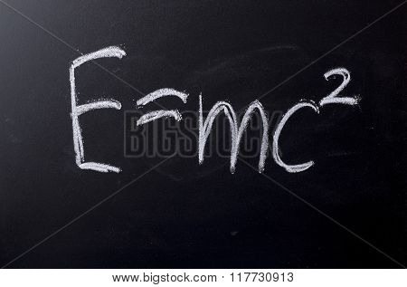 E Equals Mc Squared On Chalkboard
