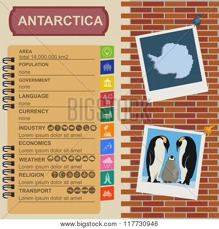 Antarctica (South Pole) infographics, statistical data, sights