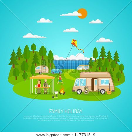 Family Camping Illustration