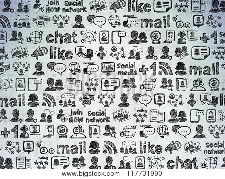Digital background: Digital Paper with  Hand Drawn Social Network Icons
