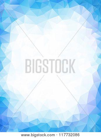 Blue background geometrical triangular polygonal vector