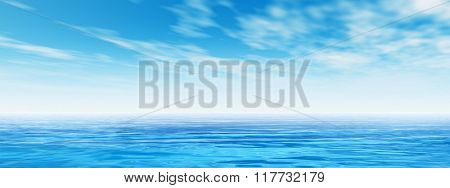 Concept or conceptual sea or ocean water waves and sky cloudscape exotic or paradise background banner