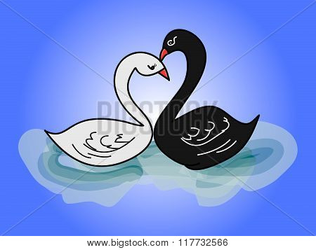 The image of two swans