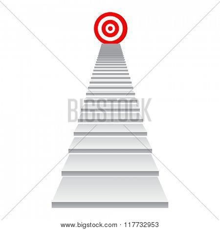 Concept conceptual 3d stair climbing to leader,chief or promotion on top red target isolated on white background
