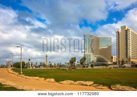 TEL AVIV, ISRAEL - JANUARY 1, 2016: Warm winter. Gorgeous Tel Aviv promenade in stormy weather