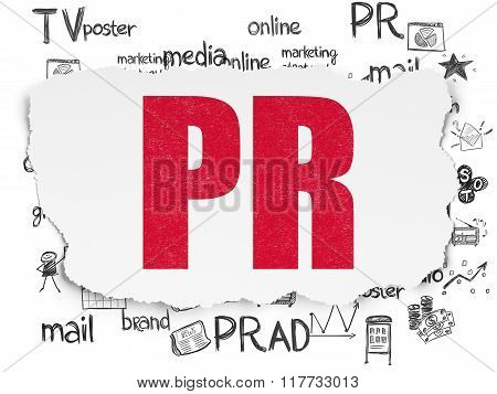 Advertising concept: PR on Torn Paper background