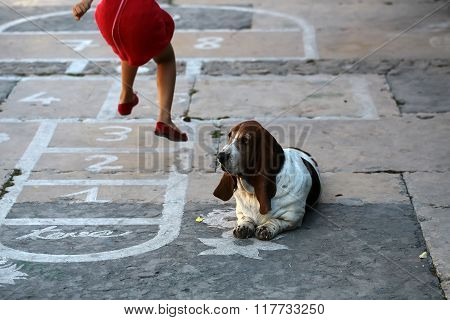 Girl With Dog Playing Hopscotch