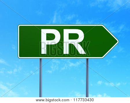 Advertising concept: PR on road sign background