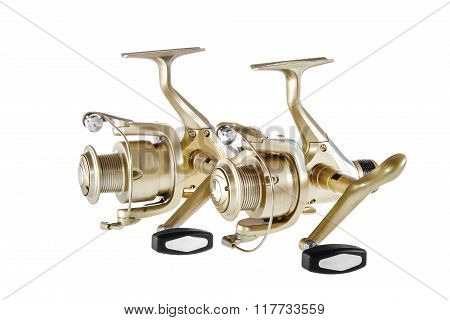 Isolated Object On A White Background Fishing Reel