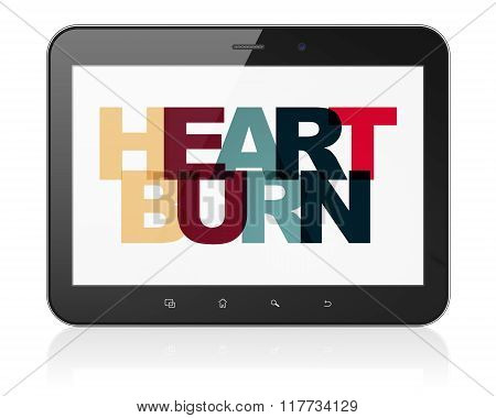 Medicine concept: Tablet Computer with Heartburn on  display