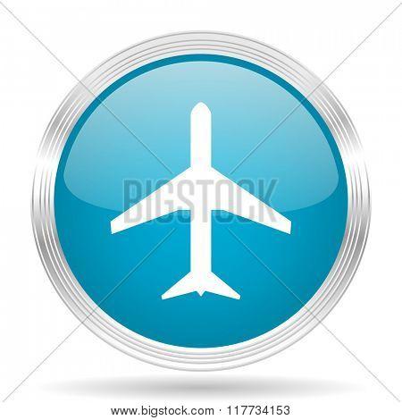 plane blue glossy metallic circle modern web icon on white background