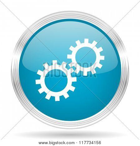 gear blue glossy metallic circle modern web icon on white background