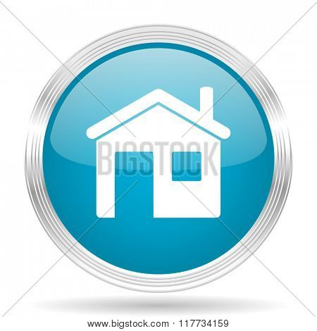 house blue glossy metallic circle modern web icon on white background