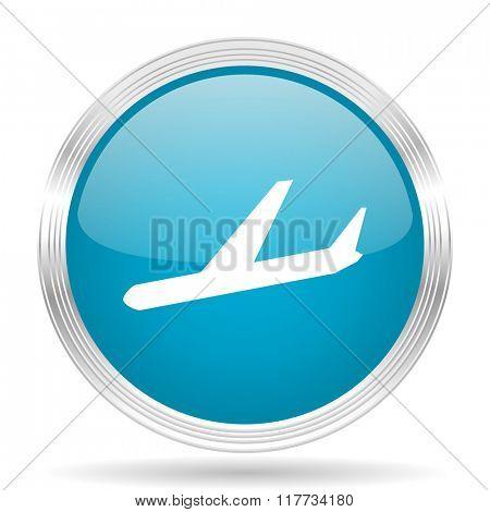 arrivals blue glossy metallic circle modern web icon on white background