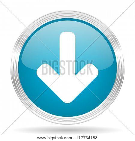 download arrow blue glossy metallic circle modern web icon on white background