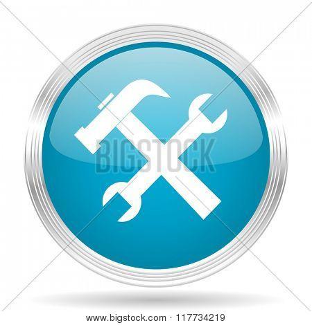 tool blue glossy metallic circle modern web icon on white background
