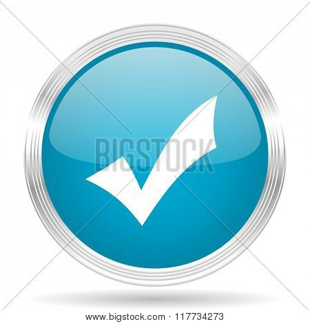 accept blue glossy metallic circle modern web icon on white background