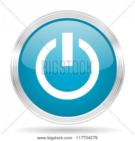 power blue glossy metallic circle modern web icon on white background