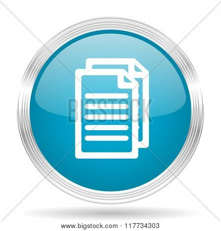 document blue glossy metallic circle modern web icon on white background