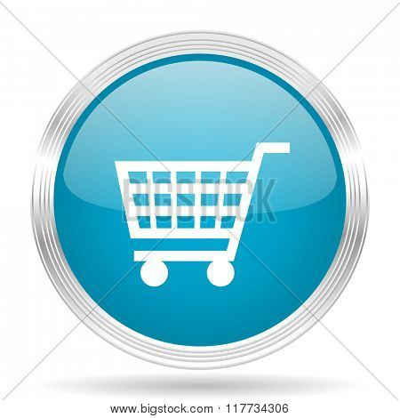 cart blue glossy metallic circle modern web icon on white background
