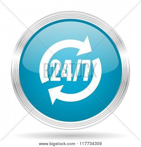 service blue glossy metallic circle modern web icon on white background