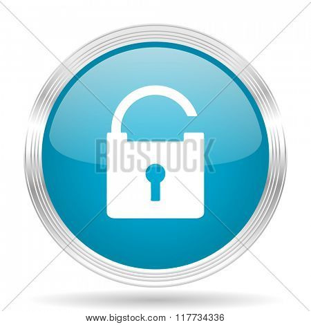 padlock blue glossy metallic circle modern web icon on white background