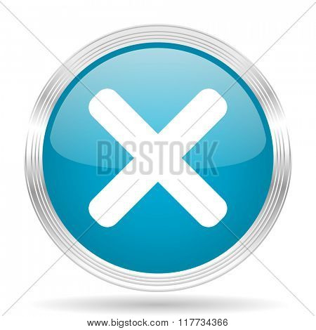 cancel blue glossy metallic circle modern web icon on white background