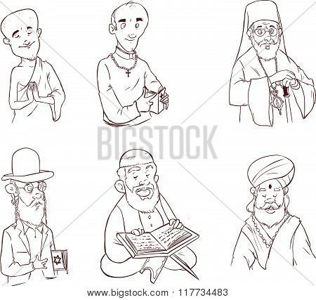People Of Different Religion In Traditional Clothing. Islam, Judaism, Buddhism, Orthodox, Catholic,