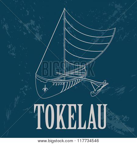 Tokelau. Polynesian canoeing. Retro styled image