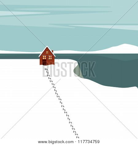 Winter house. Vector illustration