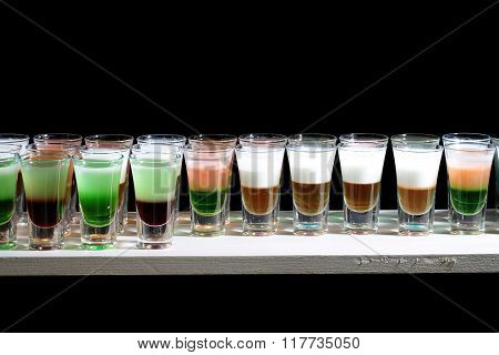 Line Of Many Alcoholic Shooters