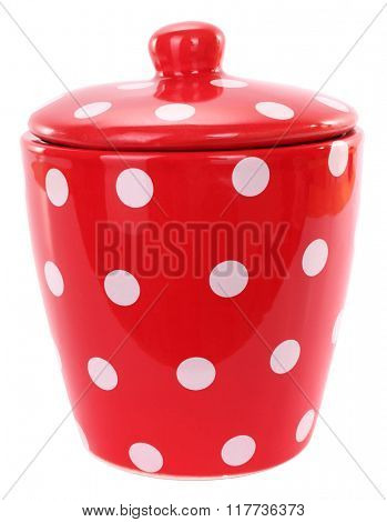 Red spotted bowl with white spots