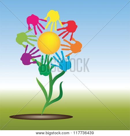Vector concept conceptual yellow happy abstract sun with children hand print spiral or circle flower isolated on white background