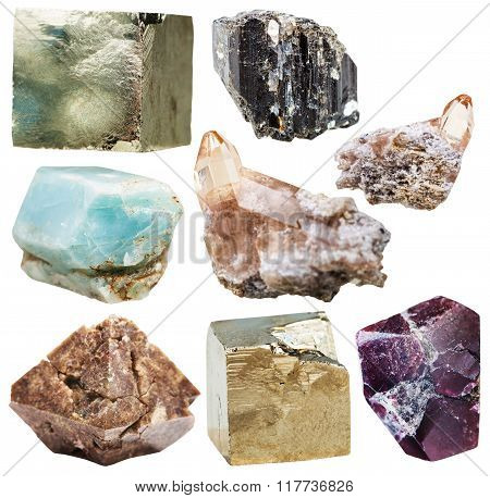 Lot Of Natural Mineral Crystal Gemstones Isolated