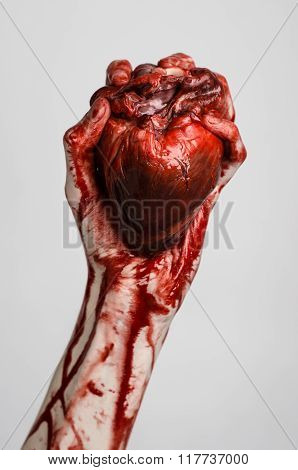 Blood And Halloween Theme: Terrible Bloody Hand Hold Torn Bleeding Human Heart Isolated On Gray Back